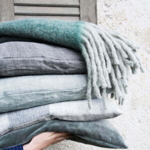 Mathea Cozy Living Plaid Decke Oliv Grün Wolle Winter