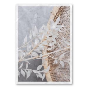Canvas einzelner Zweig neben Korbgeflecht