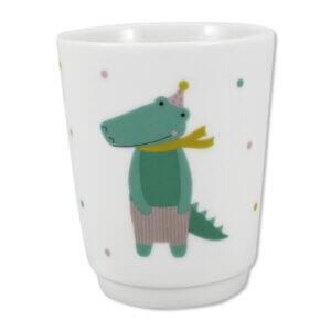 Trinkbecher aus Porzellan für Kinder, Krokodil