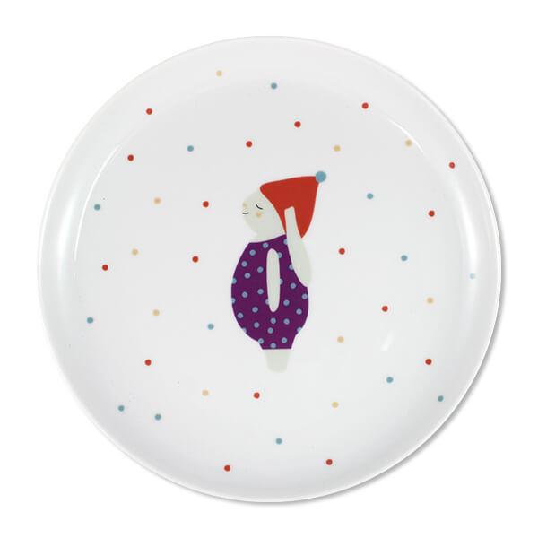 Porzellanteller für Kinder, Hase mit Mütze