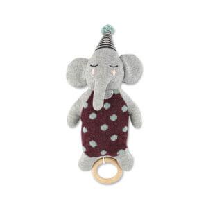 Strickspieluhr von Ava & Yves Elefant mit Hütchen