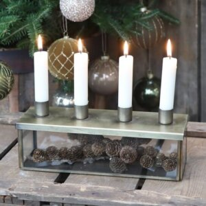 Adventskerzenhalter Glasbox für 4 Kerzen