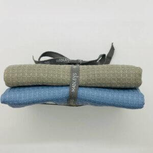 Madleys Handtuch aus Waffelstoff - blau und graugrün