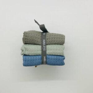 3er Set Abwaschlappen von Madleys, Waffelstoff blau