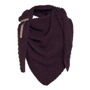 knit factory aubergine dreiecksschal herbst winter
