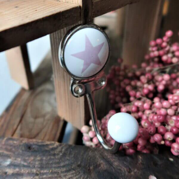 Kleiderhaken mit stern rosa
