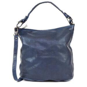 Schultertasche Tess blau Bear Design Ledertasche