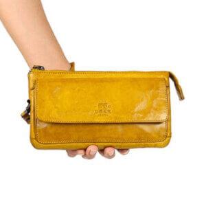 cl 15567 gelb leder portemonnaie bear design
