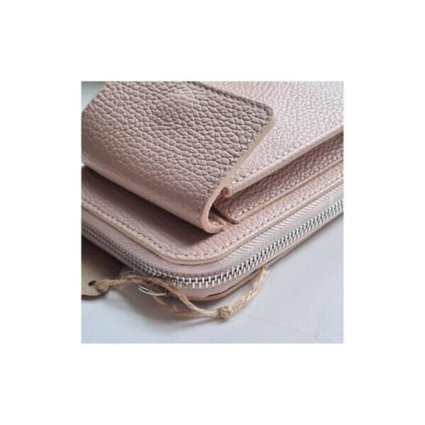 Handytaschen Leder Made in Italy rosa beige weiss Umhängetasche